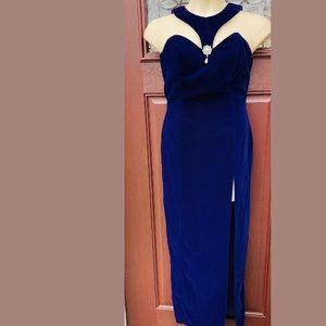 Vintage 1990's Sapphire Blue Velvet Cocktail Dress